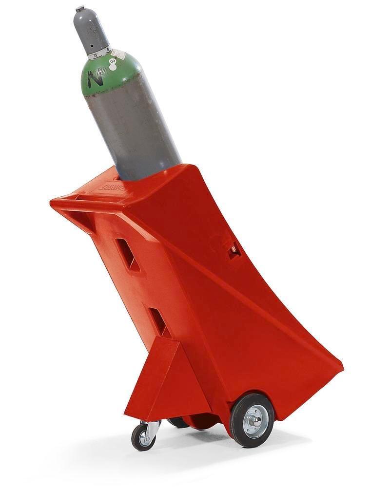 Gasflaskevogn i polyethylen med stoettehjul