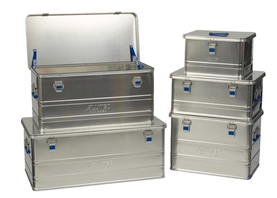 Transportkasser af aluminium der kan stables